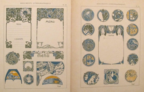 1900c. Belle Epoque Design Sheets, Documents Lithographiques Plate #29 + 33