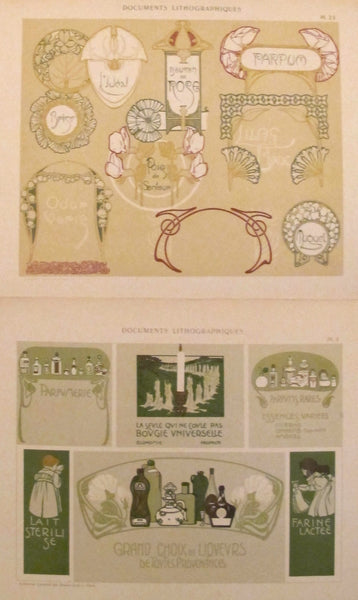 1900c. Belle Epoque Design Sheets, Documents Lithographiques Plate #23 +4