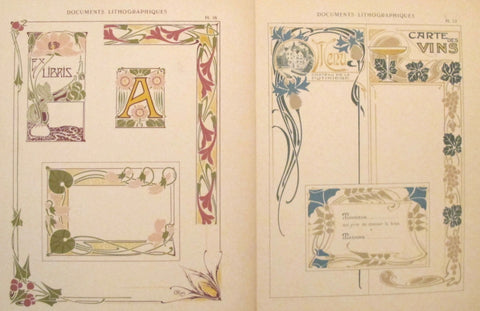1900c. Belle Epoque Design Sheets, Documents Lithographiques Plate #12 + 16