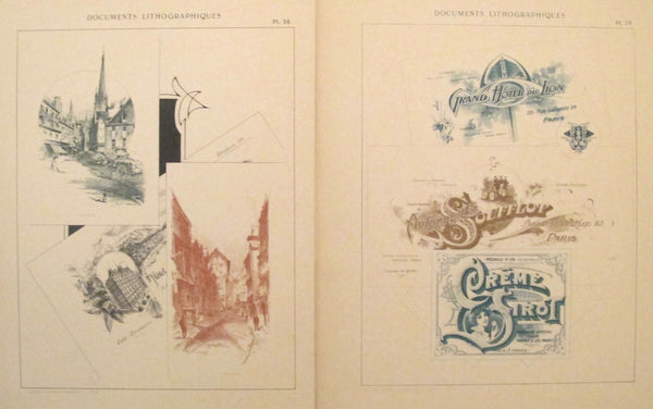1900c. Belle Epoque Design Sheets, Documents Lithographiques Plate #38 + 39