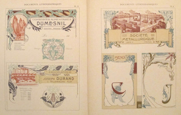 1900c. Belle Epoque Design Sheets, Documents Lithographiques Plate #9 + 11