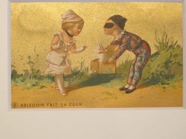 1900's Set of 6 Original French Confectionary Labels, Harlequin