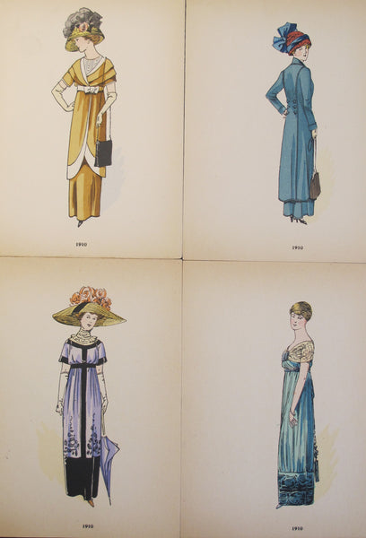 1910 La Mode Feminine, Parisian Ladies Fashion (set of 4)