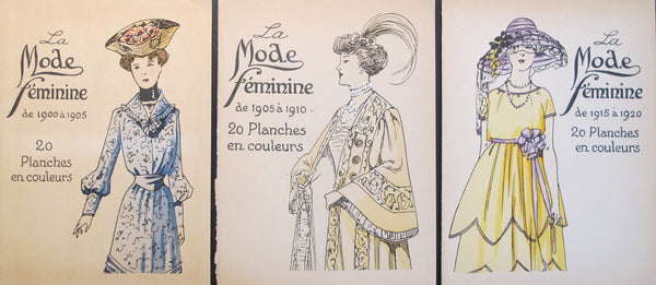 1920 La Mode Feminine, Parisian Ladies Fashion (set of 3)