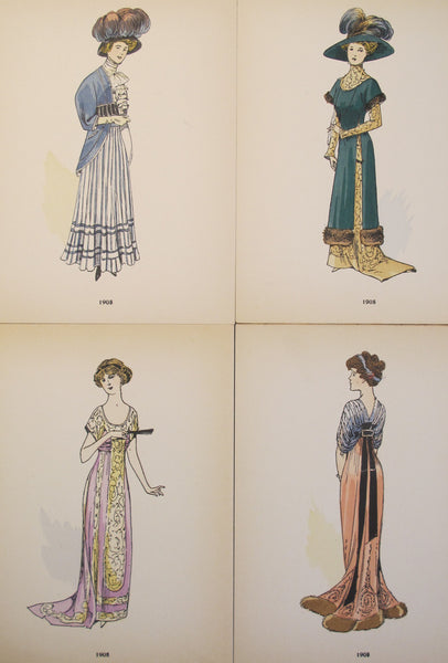 1908 La Mode Feminine, Parisian Ladies Fashion (set of 4)