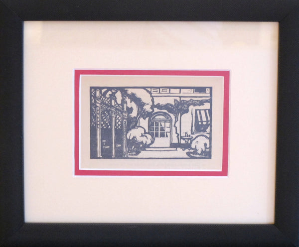 1930's Original French Woodblock Print, House - Beloff