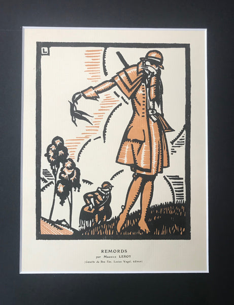 1920s Original Art Deco Poster, Gazette du Bon Ton, Remords