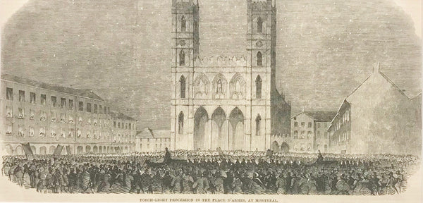 1860s Engraving, London Illustrated News, Torch Light Procession in the Place D'Armes, Montreal