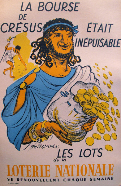 "1950s French Poster, Loterie Nationale Advertisement ""Cresus"" - Van Rompaey"