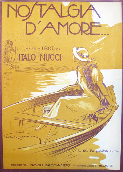 "1925 Original Italian Music Sheet - ""Nostalgia D'Amore"" (Memories of Love)"