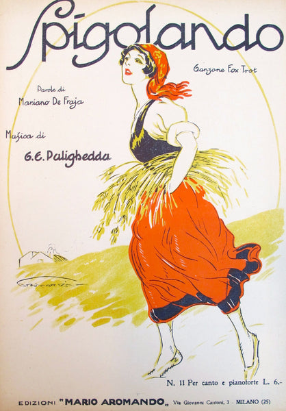 1925 Original Italian Music Sheet, Spigolando (Fox Trot)