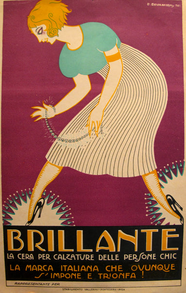 1930 Original Art Deco Italian Carton, Brillante Shoe Polish - Bevilacova