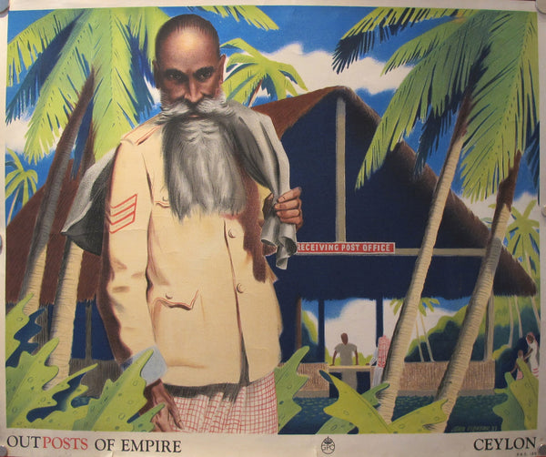 1937 Original General Post Office Poster, Outposts of Empire Ceylon