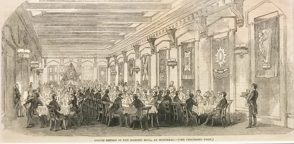1860s Engraving, London Illustrated News, Dinner at the Masonic Temple, Montreal