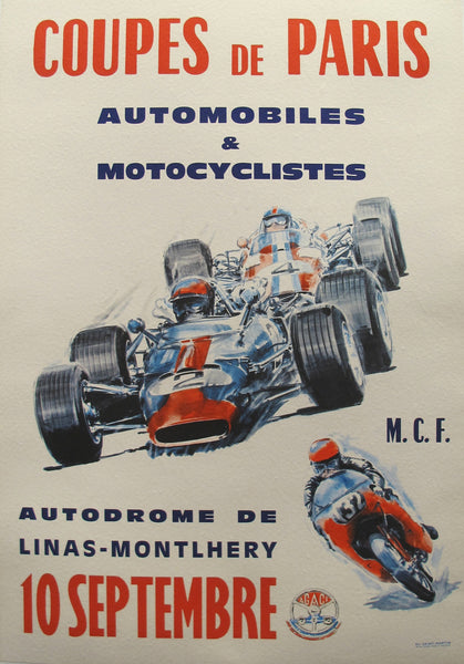 1960s Original French Racing Poster, Coupes de Paris - Unknown