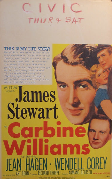 1952 James Stewart Lobby Card, Carbine Williams