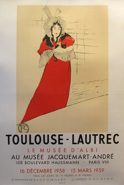 1958 Original French Toulouse-Lautrec Exhibition Poster, Musee d'Albi - Toulouse-Lautrec (after)