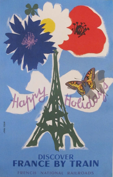 "1954 Original French Railway Poster, Discover France by Train ""Happy Holidays"" (SNCF)"