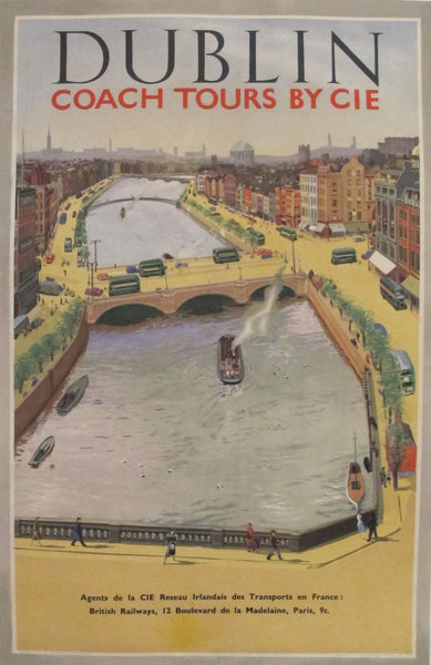 1950s Original Irish Transportation Poster, Dublin Coach Tours