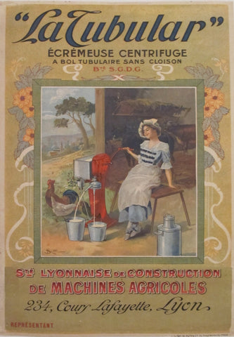 "1900s Original Agricultural Poster, ""La Tubular"" Centrifugal Butter-Extractor - Unknown"