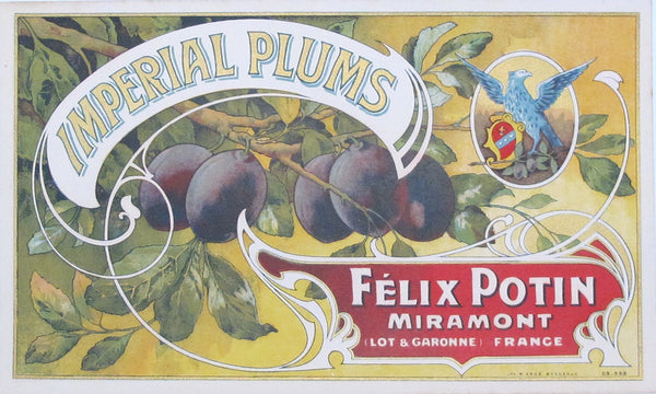 1930s French Fruit Crate Label, Imperial Plums