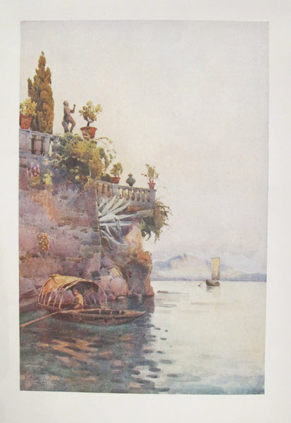 1905 Original Italian Print - Italian Travel Colour Plate - In the Shadow of the Terrace