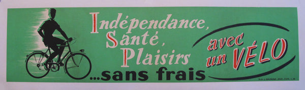 1950s French Vintage Bicycle Poster Banner, Independence Santé Plaisirs