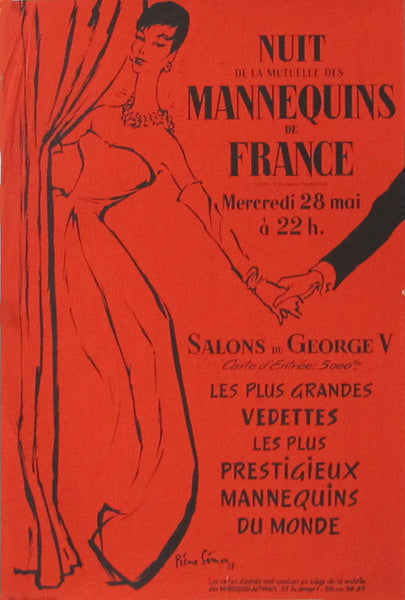 1958 Original French Fashion Poster - Nuit de la mutuelle des mannequins de France