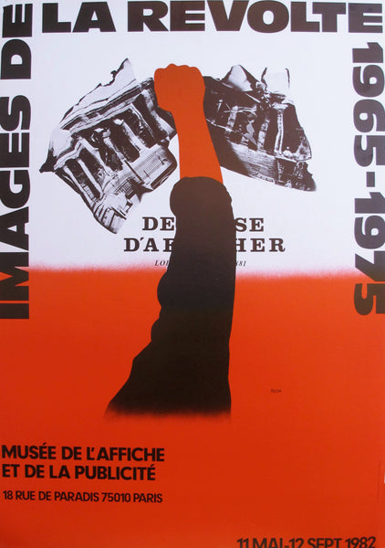 1982 French Exhibition Poster, Images de la Revolte 1965-1975 (Red)