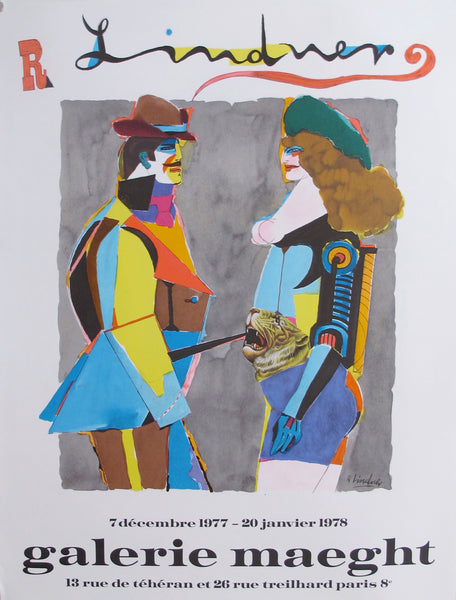 1977 French Exhibition Poster, Man and Woman - Lindner