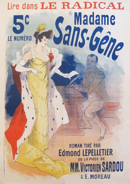 "1894 Original French Belle Epoque Poster - ""Madame Sans-Gêne"""