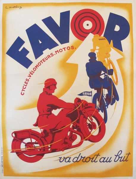 1930s French Art Deco Poster, Favor Cycles, Velomoteurs, Motos