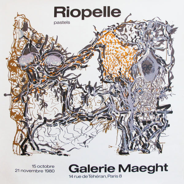1980 French Exhibition Poster, Riopelle Pastels