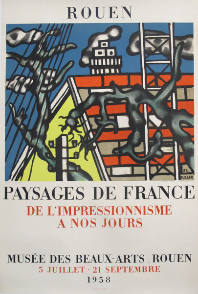 1958 Original French Exhibition Poster - Musée des Beaux-Arts Rouen, Landscapes, Impressionism to today, Fernand Leger