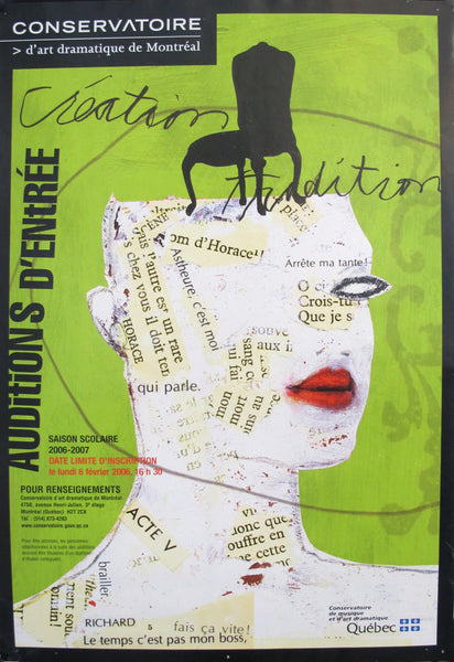 2006 Quebec Contemporary Auditions Poster, Conservatoire d'art dramatique de Montréal