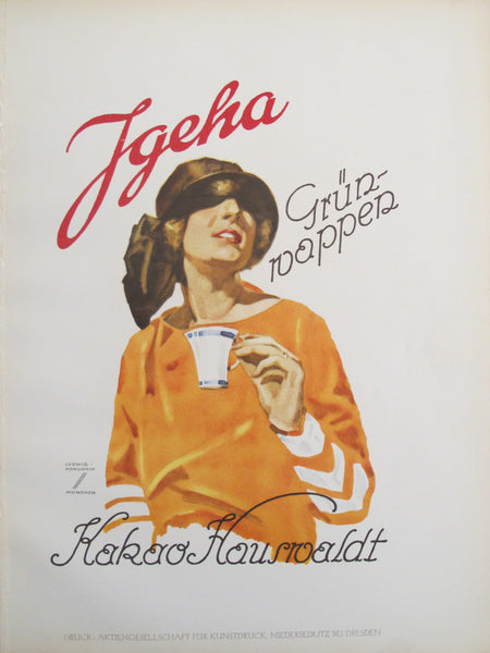 1926 Original German Art Deco Poster, Jgeha Kakao (Cocoa)