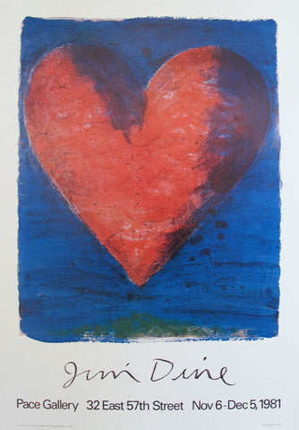 1981 Jim Dine Heart Exhibition Poster, Pace Gallery