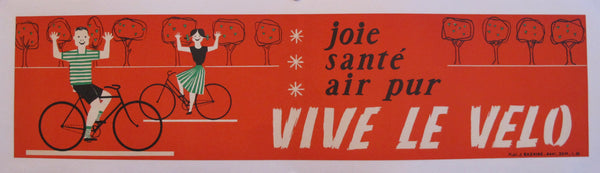 1950s French Vintage Bicycle Poster Banner, Joie, Santé, Air pur