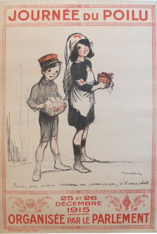 "1915 Original French War Poster - ""Journée du Poilu, Pour Que Papa Vienne en Permission"" - Poulbot"