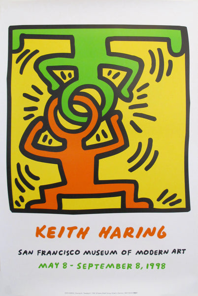 1998 Keith Haring Poster, San Francisco Museum of Modern Art (Headstand)
