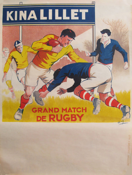 1930s French Rugby Poster, Kina Lillet