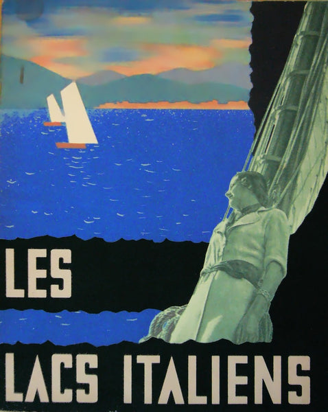 1936 Italian Art Deco Travel Brochure, Les Lacs Italiens (Book)