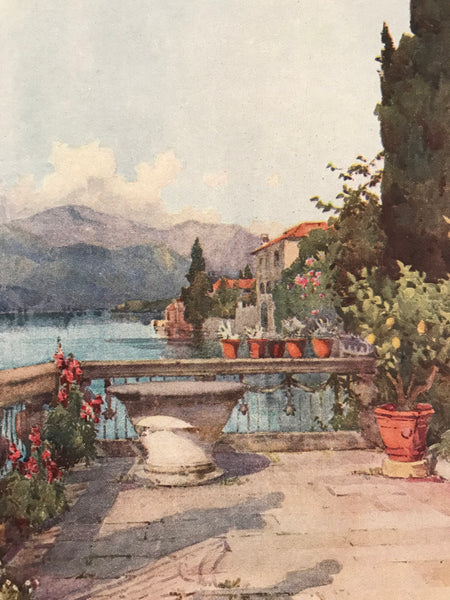 1905 Original Italian Print - Italian Travel Colour Plate - A Garden at Orta