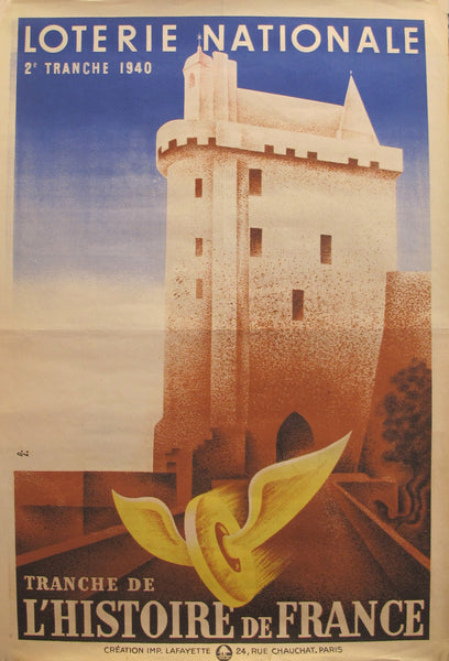 "1940 Original French Art Deco Advertising Poster, Loterie Nationale ""L'Histoire de France"", By Derouet & Lesacq"