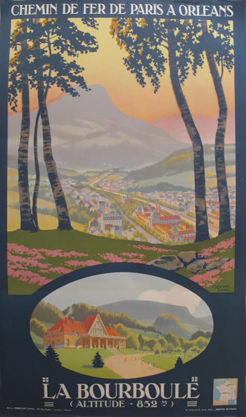 1933 Original French Railway Travel Poster, La Bourboule (Chemin de Der de Paris a Orleans)