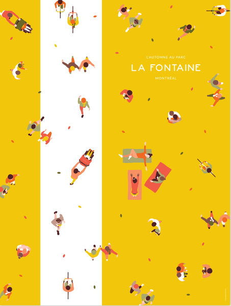 2016 Modern Montreal Travel Poster, Autumn at La Fontaine Park