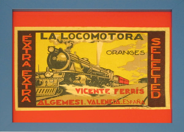 1920's Original Vintage Spanish Fruit Crate Label - La Locomotora Oranges (Framed)