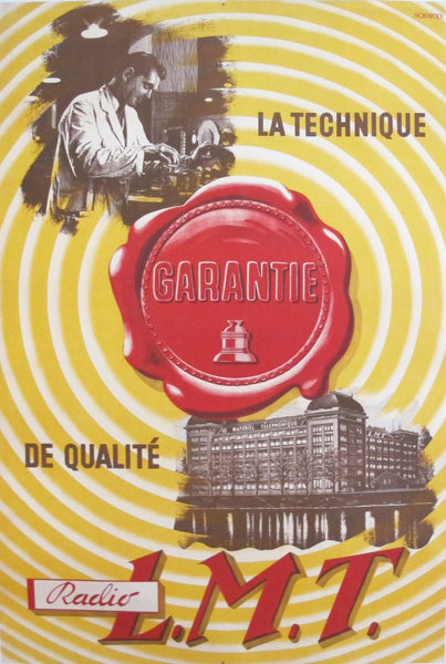 1930s Original French Art Deco Poster, La Technique Guarantie LMT