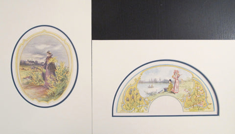 1870's Vintage French Fan Design - Lady with umbrella & Couple on riverbank (Matted - Set of 2)