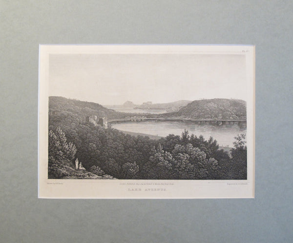 1820s Engraving of Lake Avernus - Elizabeth Frances Batty